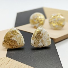 White and Gold Stud Statement Earrings | White and Translucent Marble with Gold