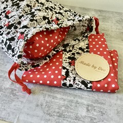 'MINNIE & MICKEY' with Red Spot Kindy Sheet Set  // DRAWSTRING BAG