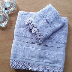 Hand Embroidered Bath Towel & Washer Set