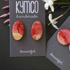 The Coral Collection -  statement studs resin art earrings
