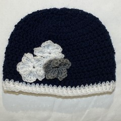 Navy floral Baby beanie