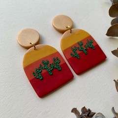 """Sunset Cactus"" - Trio Arch Dangles"