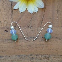 Azurite, opalite moonstone and recycled silver earrings