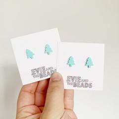 Mint Mini Christmas Tree Stud Earrings