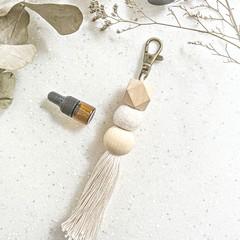 Tassel keychain diffuser, Boho bag charm