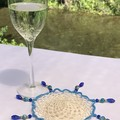 Long beaded Wine Glass Covers - Blue