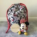 'MINNIE & MICKEY' with Red Spot Kindy Sheet Set  // DRAWSTRING BAG