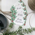 Set of 5 Gift Tags - Christmas - Green Florals