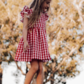 Christmas Red gingham  Pinafore Dress