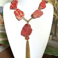 Genuine IMPERIAL JASPER Red Natural Gemstones Exuberant Beaded Necklace.