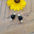 Onyx and recycled silver earrings
