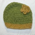 green and yellow flower baby beanie