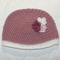 Pink Floral baby beanie