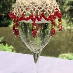 Long beaded Wine Glass Covers - Red