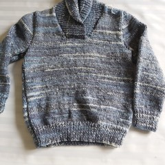 HAND KNITTED GREY SWEATER  4 - 5 years