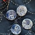 Cute blue flower porcelain buttons