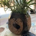 Unique Rustic Black and Brown Circles Vase
