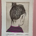 Beautiful hand painted etching of woman with green and purple dress (unframed)