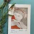 Beautiful hand painted etching of woman with spotted red dress (unframed)