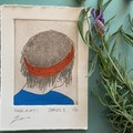 Beautiful hand painted etching of woman with red bandana (unframed)
