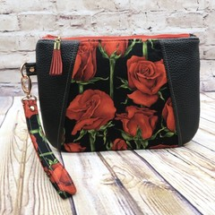 Red Rose Zip Pouch/Clutch