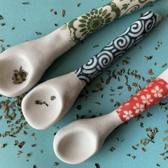Cute handmade porcelain spoon trio