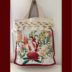 TOTE BAG Australian wildflowers cross-stitch. Lined.