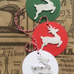 Reindeer Christmas Gift Tags. Music note pattern. White, red or green. Xmas gift