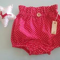 Girls Red & Cream Spot Christmas Britches BloomersSize 0, 1, 2 & 3