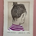 Beautiful hand painted etching of woman white and purple dress (unframed)