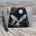 Silver Owls  Zip Pouch/Clutch