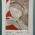 Beautiful hand painted etching of woman with red striped dress (unframed)
