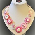 Colorful button necklace with matching stud earrings, Pink Blossoms