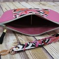Hot Pink Maple Leaves Zip Pouch/Clutch