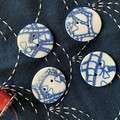 Beautiful Round Blue Porcelain buttons (Smaller size) for a crafty mum