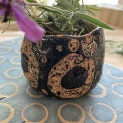 Unique Rustic Black and Brown Circles Vase