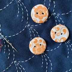 Cute bright orange flower round porcelain buttons