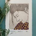 Beautiful hand painted etching of woman with spotted dress (unframed)