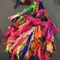 Recycled silk boho Rainbow rag bag