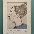 Beautiful hand painted etching of woman with grey dress (unframed)
