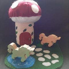 Mushroom house and magical unicorns