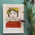 Beautiful hand painted etching of woman with red dress (unframed)