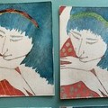 Beautiful set of hand painted etching of blue hair women (unframed)