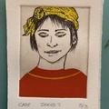 Beautiful hand painted etching of woman with yellow bandana (unframed)