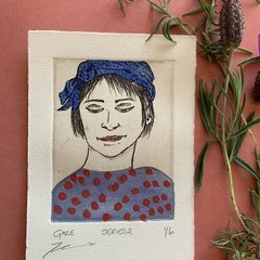 Beautiful hand painted etching of woman with Blue bandana (unframed)