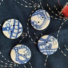 Beautiful Blue Round porcelain buttons (larger size)