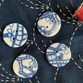 Beautiful Blue Round porcelain buttons (larger size)