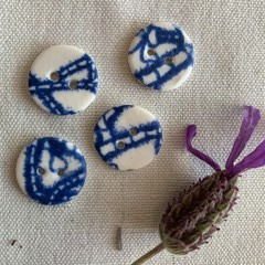 Beautiful Round Blue Porcelain buttons (Smaller size)