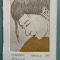 Beautiful hand painted etching of woman with yellow dress (unframed)