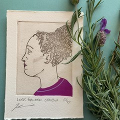 Beautiful hand painted etching of woman with purple dress (unframed)